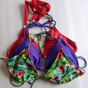 Lot of 3 Swimsuit Bikini Tops Red/Purple Size M